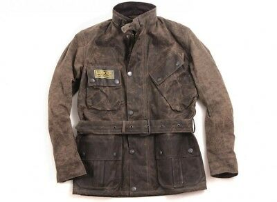 NWT $699 Barbour Deus Ex Machina Horace Motorcycle 8oz Waxed Jacket Olive Large