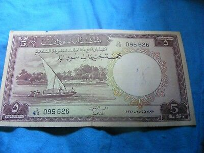 SUDAN 1965 issue 5 Sudanese Pounds Banknote  VF+ condition SCARCE.. 095626