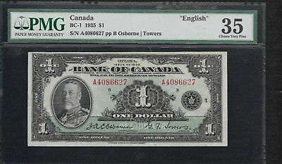 1935 Bank of Canada $1.00, BC-1, PMG Certified CHOICE  VF35