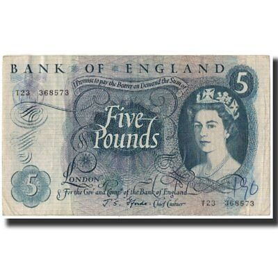 [#591695] Banknote, Great Britain, 5 Pounds, 1966, KM:375b, VF(30-35)