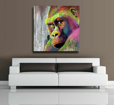 Gorilla Stretched Canvas Print Framed Wall Art Kids Room Decor Painting Animal