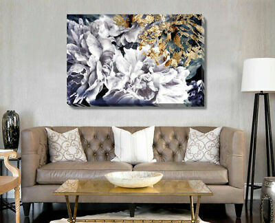 Black Gold Flower Stretched Canvas Print Framed Wall Art Hanging Home Decor DIY