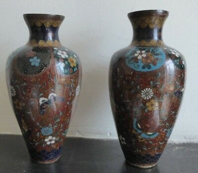 Pair of small  antique cloisonne enamel Japanese vases -Meiji period.