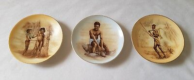 3 Vintage C1960's Small China Aboriginal Theme Wall Hanging Plaques - Pin Dishes