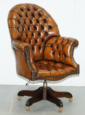 Restored 1960's Chesterfield Whisky Brown Leather Directors Captains Chair