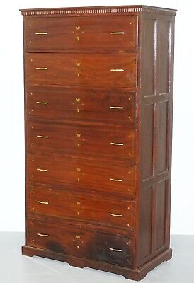 176.5Cm Tall Rosewood & Brass Inlaid Georgian Style Tall Boy Chest Of Drawers