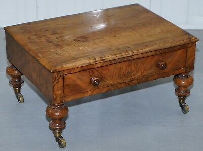 Small 19Th Century Walnut Side Table With Single Drawer Ideal As A Footstool