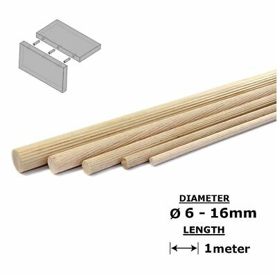Beech Dowels Flutted Wood Rod Pegs - 1m length, 6 - 16mm diameter