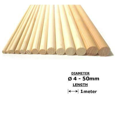 Beech Wood Dowels Smooth Rod Pegs - 1m length, 4 - 50mm diameter