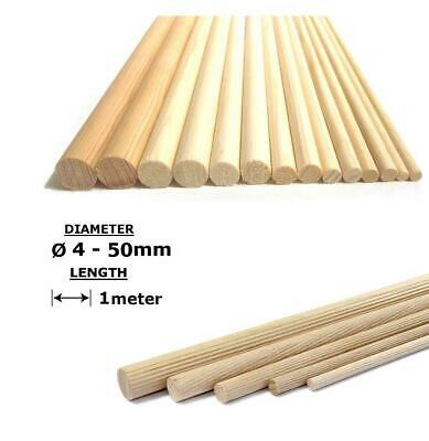 Beech Wood Dowels Fluted Smooth Rod Pegs - 1m length All diameters