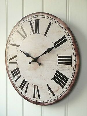 NEW LARGE 34cm ANTIQUE VINTAGE STYLE WALL CLOCK RETRO SHABBY CHIC COUNTRY STYLE
