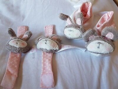 pink rabbit baby wrist and ankle rattles