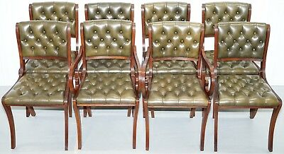 Eight Beresford & Hicks Chesterfield Green Leather Mahogany Dining Chairs 8