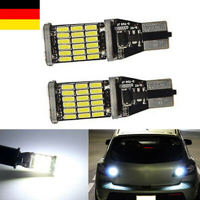 Kalt Weiß Hell Innenraumbeleuchtung Standlicht 2X W16W 45 SMD LED T15 12V CANBUS