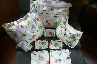 LeSportsac Large Weekender Tote Travel Luggage Bag White Floral Multi  Lot Set 9