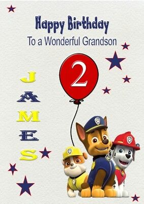 PAW PATROL Son Brother Sister Grandson Personalised Birthday Card Daughter