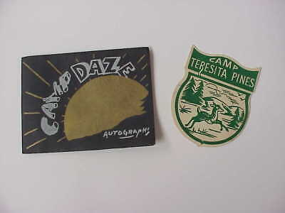 "ORIGINAL 1960 Camp Teresita Pine California ""Camp Daze"" Souvenir Book & Patch"
