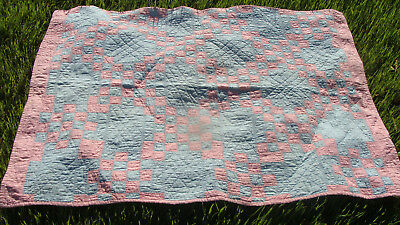 "antique pink & blue Irish Chain all hand quilted crib quilt, 54"" x 39""  *"