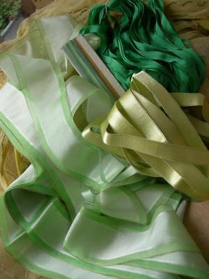 Huge lot vintage French silk & satin ribbons - unused St. Etienne 1920s - greens