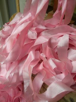 17 metres antique French pure silk pink ribbon - strawberry pink