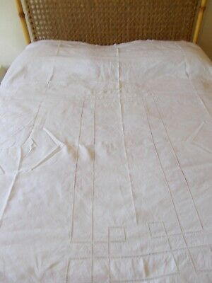 Vintage French Linen Tablecloth  Ladder Work Pattern Approx. 165 cm x 235 cm