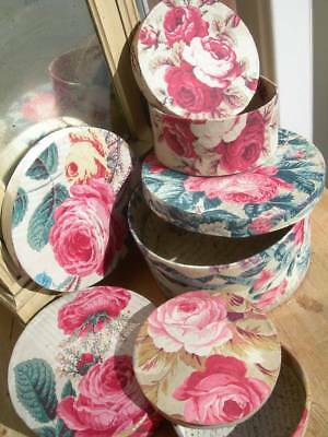 4 round antique vintage French fabric covered boudoir boxes Chintz cabbage roses