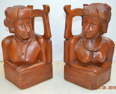Old Vintage Hand Carved Wood Sculpture African Women Male Female Tribal Bookends