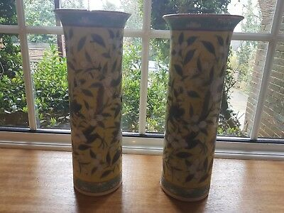 pair of chinese antique cylinder vases in imperial yellow