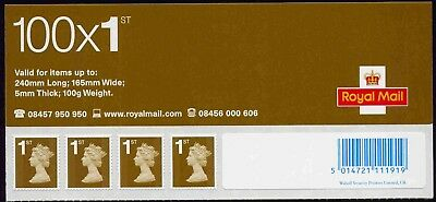 GB 100x1st CLASS PIP HEADER PANE OF 4 STAMPS TOTALLY MISSING PHOSPHOR ERROR