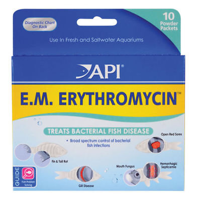 API E.M. ERYTHROMYCIN Treat Bacterial Fish Diseases Freshwater / Saltwater