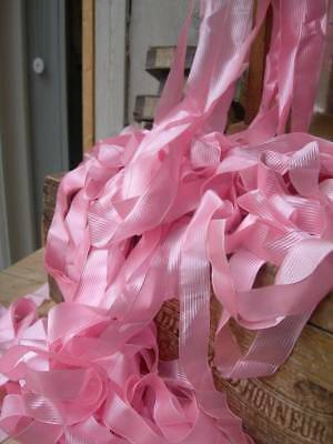 16.5 metres antique French pure silk pink ribbon - strawberry pink
