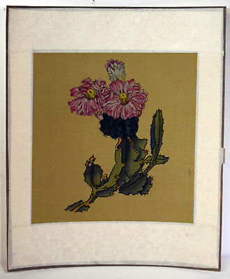 "8"" Antique Chinese Asian Watercolor on Silk Green Cacti Pink Flowers"