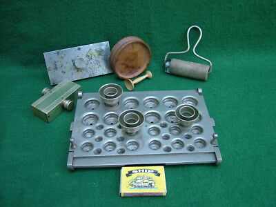 Antique Medical Apothecary Chemist Pill Moulds, Cachet Machine & Boxwood Rounder