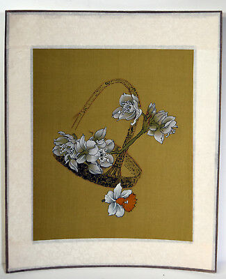 "8"" Antique Chinese Asian Watercolor on Silk White Flowers Woven Basket Narcissus"