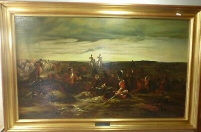 """Antique Style Oilograph on Board """"The Dawn of Waterloo"""" by Lady Elizabeth Butler"""