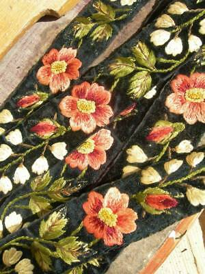 4.5 metres antique Victorian hand embroidered silk & velvet edging trim (g)