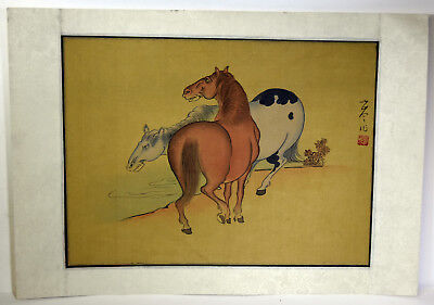 "15"" Antique Chinese Asian Signed Watercolor on Silk Brown Blue Horses At Water"