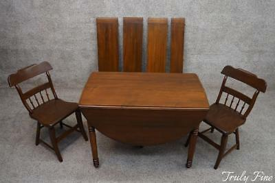 Lancaster Co. Antique Farm House Extension Table and 2 Chairs Dining Kitchen Set