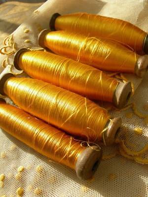 5 spools antique French very fine pure floss silk - Lyon manufacture