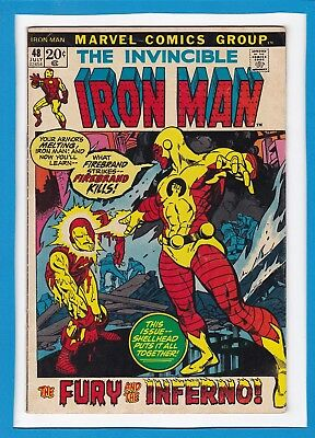 """Invincible Iron Man #48_July 1972_Very Good+_Firebrand_""""fury & The Inferno""""!"""