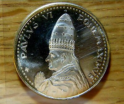 Paul VI 1975 Holy Door Silver Plated VINTAGE coin with Light Toning