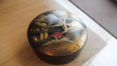 Japanese Laquer Hand Painted Box.stunning Round Box @ 5 Inches Diameter.