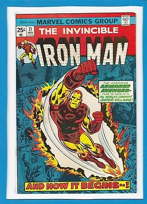 """Invincible Iron Man #71_November 1974_Very Fine_""""and Now It Begins...""""!"""