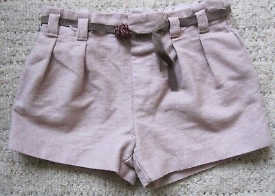 Zara Baby Girl Front Pleated Shorts Age 12/18 Months Col. Light Beige/brown