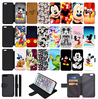 MICKEY MOUSE INSPIRED Wallet Flip Phone Case Cover Galaxy S5 S6 S7 S8 S9 comp