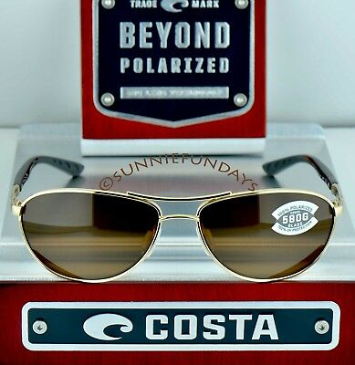COSTA Del Mar POLARIZED $259 KC Rose Gold frame w GLASS Copper 580G lenses