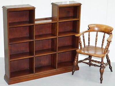 Lovely Large Legal Library Study Solid Mahogany Bookcase With Staggered Height