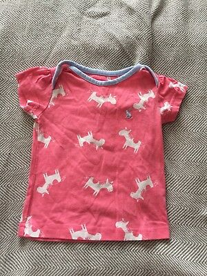 joules baby girl pink horse top 3-6 months