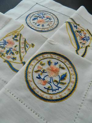 Vintage white tablecloth with hand embroidery - Famille Rose Chinese tea set