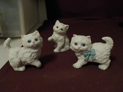 Adorable Set Of 3 White Kittens With Blue Eyes- Ceramic No Brand